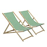 Harbour Housewares Traditional Adjustable Garden/Beach-style Deck Chair - Green/White Stripe - Pack of 2