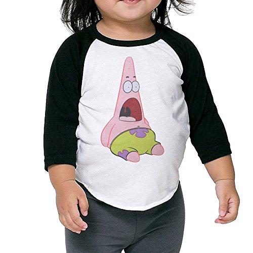 Baby Unisex Raglan SpongeBob SquarePants Surprised Patrick Baseball Shirts Tee -