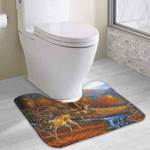 Custom U-Shaped Bathroom Carpet Forests Deer Non Slip Floor Rug Mat Bath Mat for Toilet (15.7 X 19.3 Inch) ()