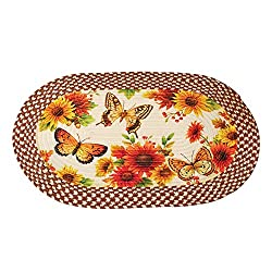 Collections Etc Sunflower Floral Country Kitchen Décor Oval Braided Rug with Butterflies, 19 1/2 x 30