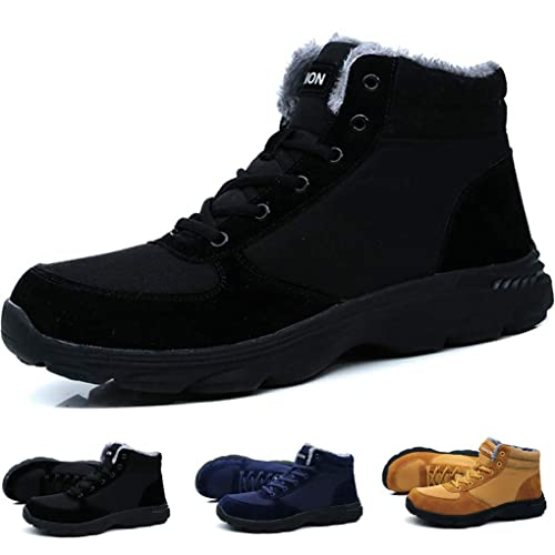 Sunny Holiday Mens Winter Boots Men Walking Snow Boots Work Suede Black Winter Warm Fur Lace up Non Slip Brown Laceup Casual Wide Fit Outdoor Adult