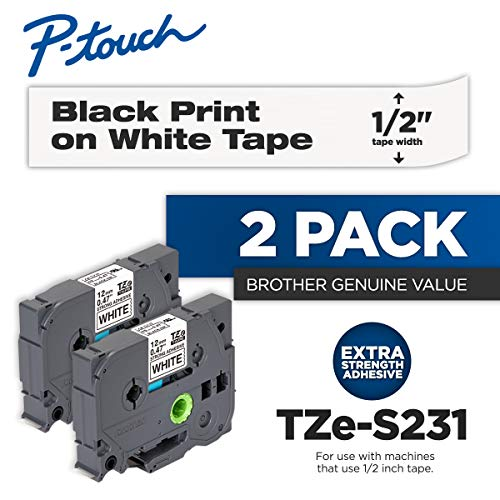 (Brother Genuine P-Touch 2-Pack TZe-S231 Laminated Tape, Black Print on White Extra Strength Adhesive Laminated Tape for P-Touch Label Makers, Each Roll is 0.47