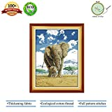 #4: Cross Stitch, Counted Cross Stitch Kit Cross-Stitch Patterns for Home Decor – Elephant Embroidery Crafts Needlepoint Kits, Mom and Son's Deep Love