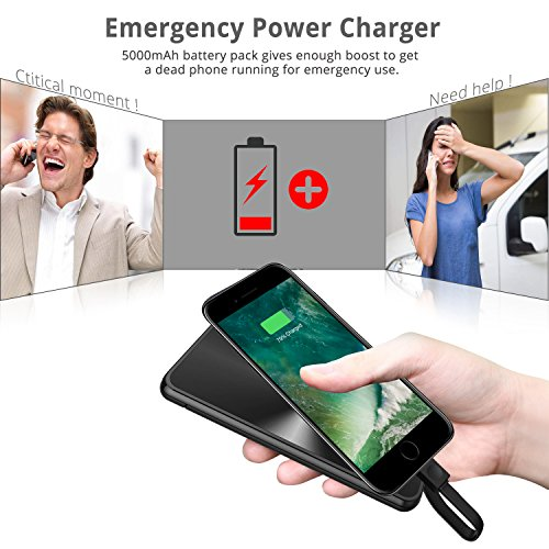 iPhone moveable Charger power Bank miraku M6 5000mAh External Battery Pack by would mean of  built in Lightning Cable Apple MFi Certified 2 Ports for iPhone X87 Plus66SiPadiPod and Android phones Black External Battery Packs