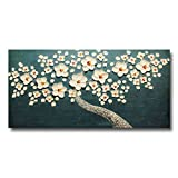 FLY SPRAY 1-Piece Hand Painted Cyan Blue Oil Paintings Canvas Wall Art Stretched Framed Ready Hang White Flowers Landscape Tree Flower Modern Abstract Artwork Painting Living Room Bedroom Office