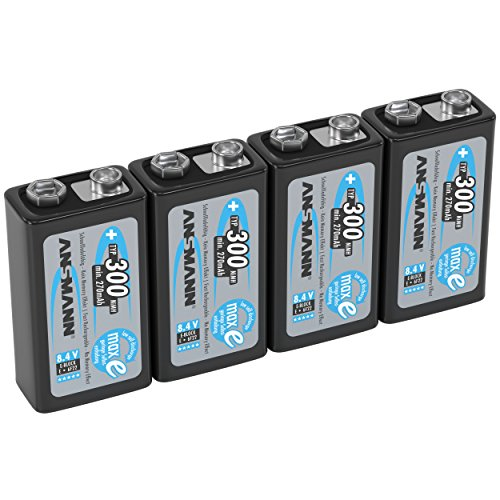 ANSMANN 9V Rechargeable Batteries 300mAh pre-charged Low Self-Discharge (LSD) NiMH 9 Volt Battery 9V Battery (4-Pack)