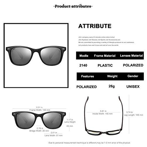 Mujer Estilo de Original Vintage sol Wayfarer Polarizadas Hombre Negro Gafas 2140 JULI ZwzXx