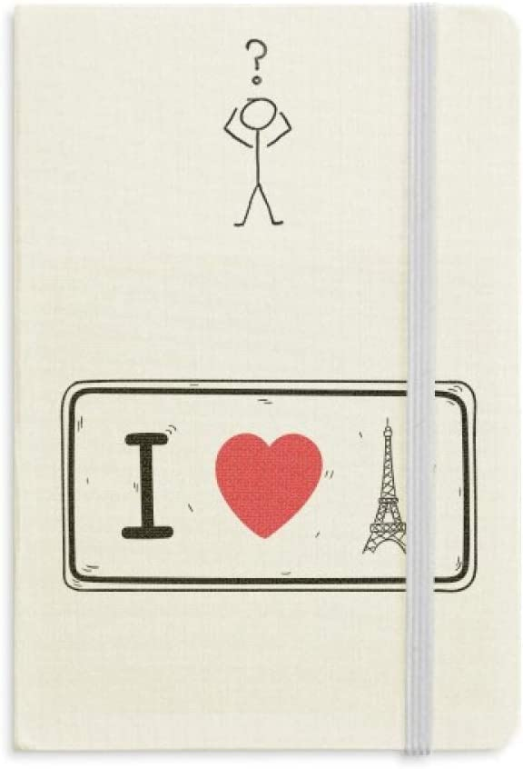 I Love Eiffel Tower Words Pattern Question Notebook Classic Journal Diary A5