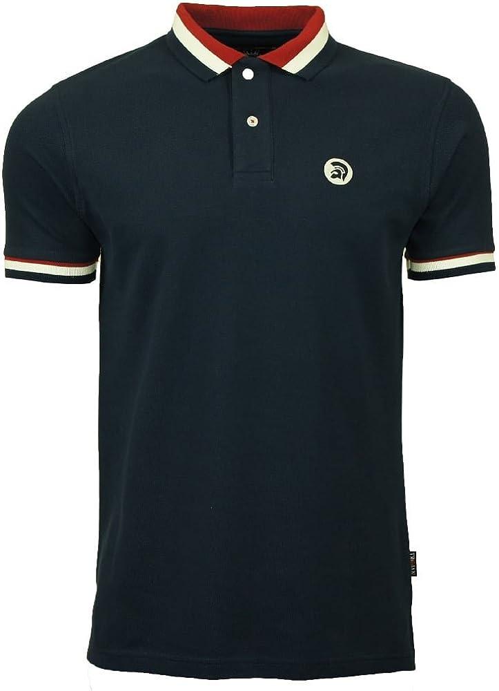 Trojan Records polo camiseta para hombre azul marino piqué rayas ...