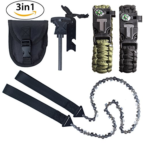 Kinstecks 24Inch Camping Saws 33PCS Serrated Survival Chainsaw Pocket Chainsaw with Firestarter Carrying Pouch and 2 PCS Paracord Bracelet for Survival Gear Camping Hunting by Kinstecks