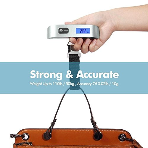 Backlight-LCD-Display-Luggage-ScaleDrmeter-110lb50kg-Electronic-Balance-Digital-Postal-Luggage-Hanging-Scale-with-Rubber-Paint-HandleTemperature-Sensor-SilverBlack