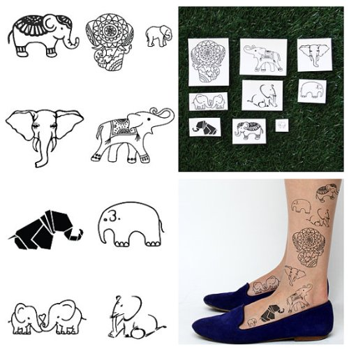 Tattify Various Elephant Temporary Tattoos - Trunk Show (Complete Set of 18 Tattoos - 2 of each Style) - Individual Styles Available and Fashionable Temporary Tattoos