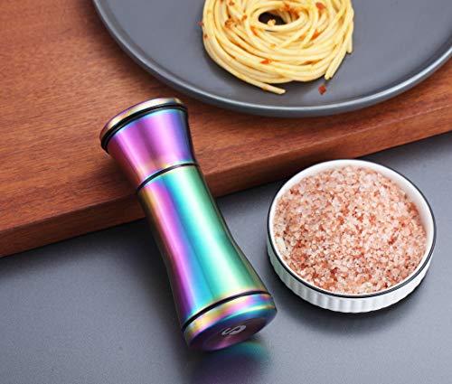 Kyraton Rainbow Salt and Pepper Shakers, Titanium Plating Stainless Steel Salt and Pepper Grinders Refillable Pepper Grinder, Pepper Mill, Salt Grinder, Salt Shaker, Salt Pepper Shaker Set of 2