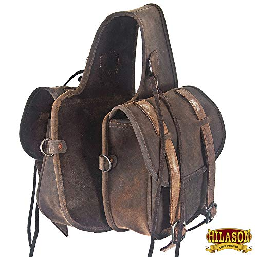 HILASON Soft Leather Horn Horse Saddle Bag Dark Brown