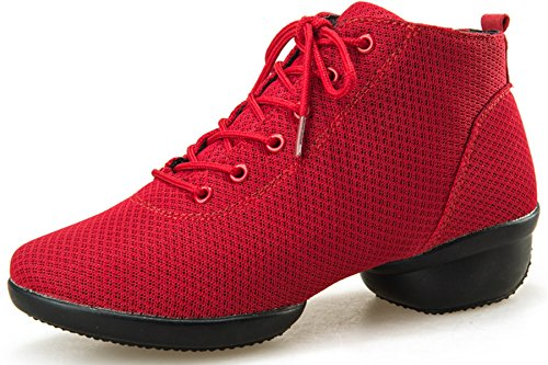 Jazz Trainer Red Shoes Dance VECJUNIA Shoes Lace Ladies Dance Lace Up qvxgwAX8