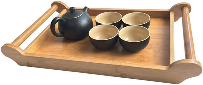 BESTONZON Bamboo Tea Serving Tray Wooden Bed Breakfast Serving Lap with Handles Chinese Gongfu Tea Accessories
