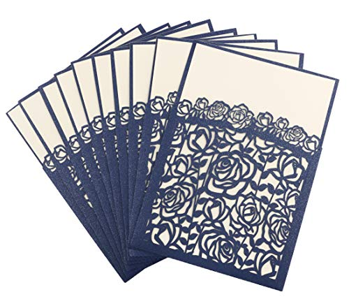 Driew 20pcs Interstitial Wedding Invitation Cards, Laser Cut Rose Hollow Pattern Invitations, Perfect for Bridal Baby Shower Engagement Birthday Party ()