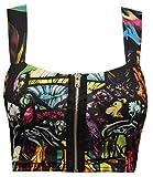 Crazy Girls Women's Printed Stretchy Zip Front Bralet Crop Bra Top