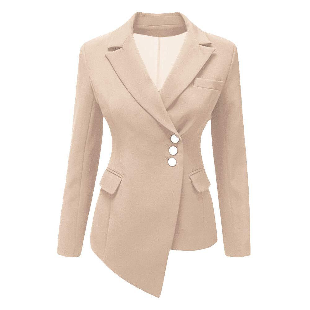 iDWZA Fashion Women Style Long Sleeve Irregular Blazer Elegant Slim Suit Coat(Khaki,US XS/CN S)