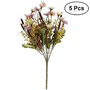 TOYANDONA 5pcs Artificial Daisy Flowers Bouquet Plant Bundle for Home Office Garden Patio Decoration (Light Purple) 17