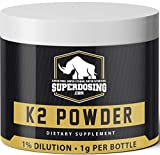 SuperDosings Bulk Vitamin K2 Powder 1000x 1mg Servings with Scoop. Buy High Strength Wholesale K-2 to Save & Supplement Your Health & Diet Regime. Essential For Strong & Healthy Bones, Joints & Heart For Sale