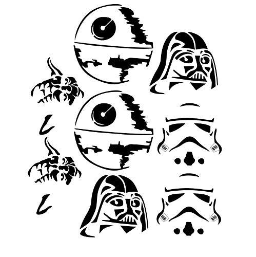 BYRON HOYLE Pumpkin Decorations, Halloween Decorations Darth Vader, Yoda, Storm Trooper and Death Star Jack O Lantern Stickers - Halloween