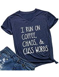 NANYUAYA Womens I Run On Coffee Chaos Cuss Words Funny Short Sleeve Summer T-Shirt