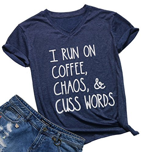 0e29f34963 NANYUAYA Womens I Run On Coffee Chaos Cuss Words Funny Short Sleeve Summer  T-Shirt
