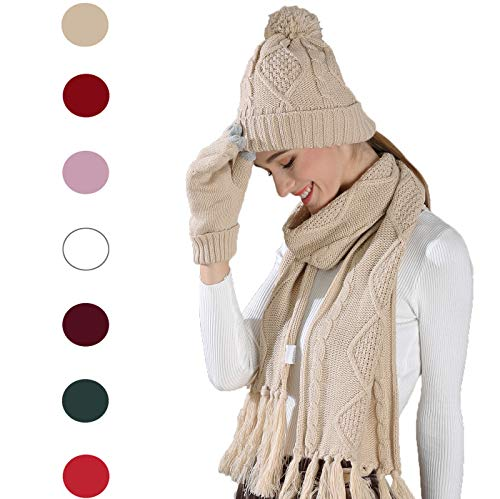 - Knit Hat/Scarf/Gloves Set, Women Men Unisex Cable Knit Winter Cold Weather Gift Set (Beige)