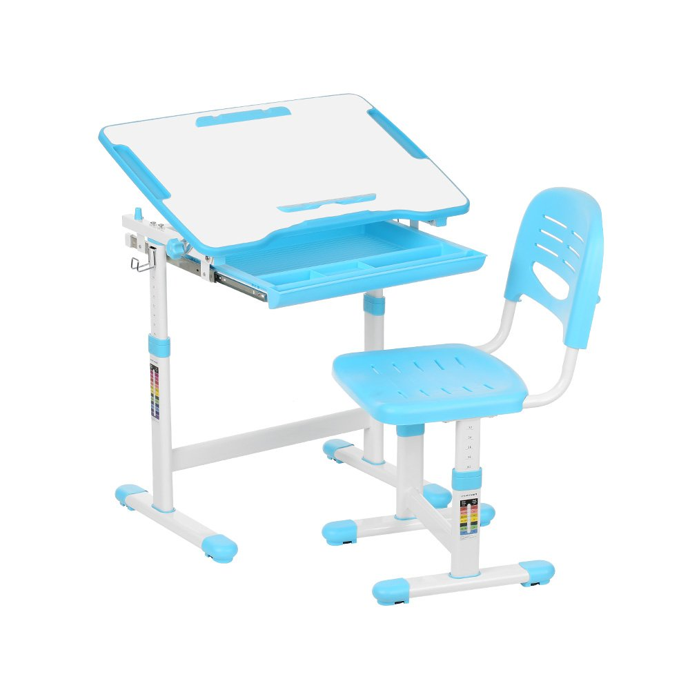 IKAYAA Height Adjustable Kid's Study Desk and Chair Set with Paper Roll Holder 0-40°