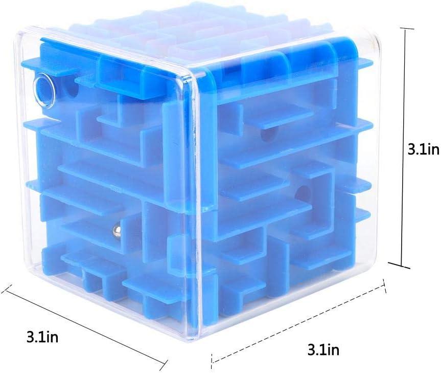 Zerodis Juguete clásico de Laberinto cúbico, Juego de Rompecabezas de plástico Juguete Laberinto Tridimensional Juguete Creativo Favorito de los niños(Azul): Amazon.es: Bebé