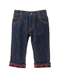 Gymboree baby-boys Baby Denim Pant With Red Flannel Cuffs