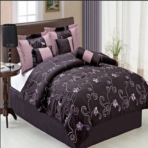 Egyptian Bedding Luxurious QUEEN Size 7 Piece Covington Purple Comforter Set with Comforter, Bed Skirt, Pillow Shams, Cushion, Breakfast Pillow, Neck Roll, Color Style Shades of Purple Egyptian Bedding®