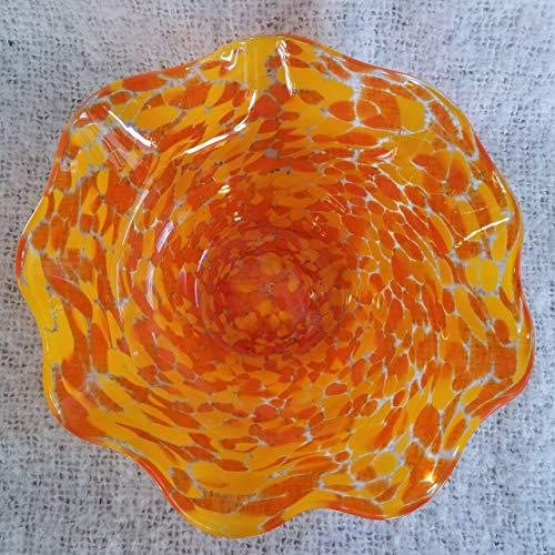 - 7 Inch Glass Wavy Bowl - Orange
