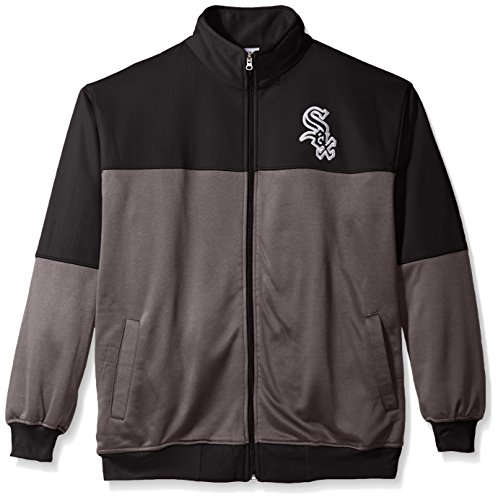 MLB Chicago White Sox Men's Poly Fleece Yoked Track Jacket with Wordmark Logo, 3X, - Track Chicago Sox White Jacket