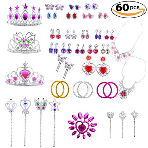 Princess Jewelry Dress Up Accessories Toy Playset for Girls (60 pcs)