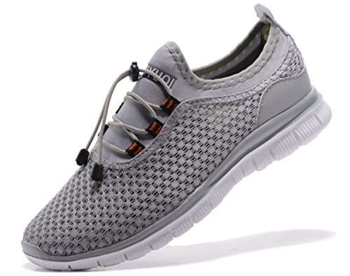 Sibaru Women's New Light Weight Go Easy Walking Casual Athletic Comfortable Running Shoes Sneakers (39 M EU/8.5 B(M)US, Grey)