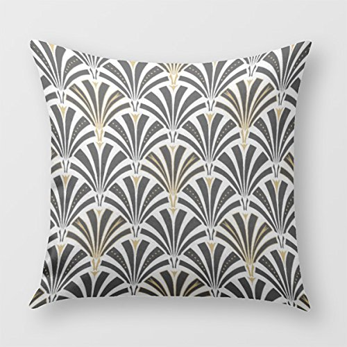 Art Deco Fan Pattern - Black And White Pillow Cover for Sofa or Bedroom