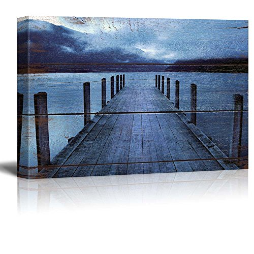 Pier at the Evening on Vintage Wood Background