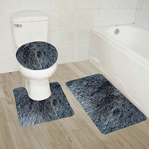 Luxury Home Collection 3 Piece Shaggy Solid Bathroom Set Includes Contour, Toilet Lid Cover, and Non-Slip Shaggy Mat with Rubber Backing (Charcoal) ()