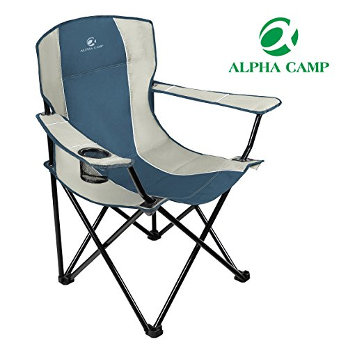 ALPHA CAMP Oversized Camping Chair Heavy Duty Folding Arm Patio Chair  Portable Padded Chair Lumb .