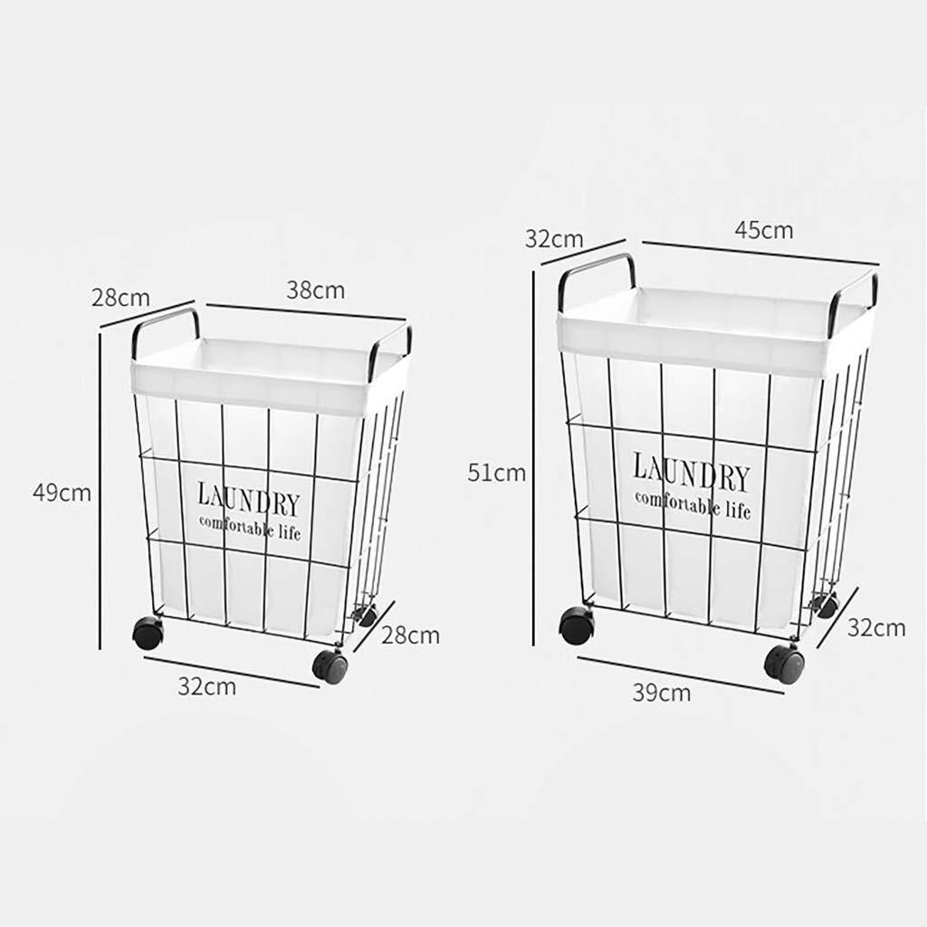 Coperta di Immagazzinamento Carrello con Le Rotelle Laundry Basket Portabiancheria Ferro Battuto//Bianco