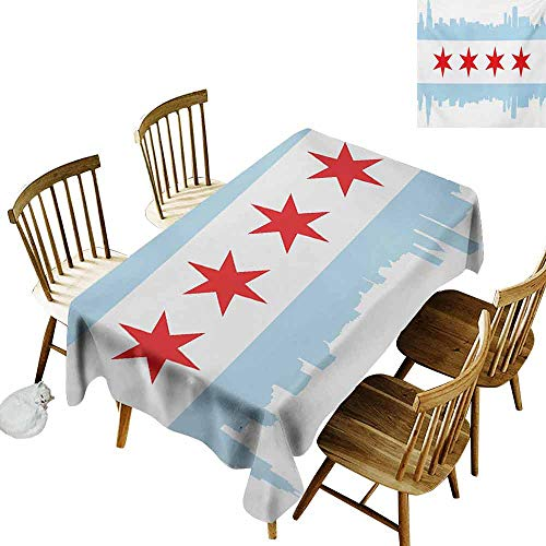 Mannwarehouse Chicago Skyline Dustproof Rectangular Tablecloth City of Chicago Flag with High Rise Buildings Scenery National and Durable W60 x L84 Red White Baby -