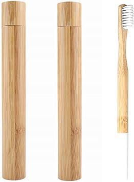 Estuche de bambú y cepillo de dientes ecológico, biodegradable y seguro para el hogar o viajes (3 piezas: 2 tubos de cepillo de dientes y 1 cepillo): Amazon.es: Salud y cuidado personal