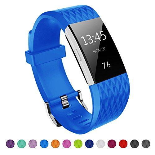 Fitbit Charge 2 Band, Kutop Soft Silicone Flexible Wristband Durable Fitness Sports Accessories Adjustable Replacement Strap for Fitbit Charge 2 HR Large, Small ()