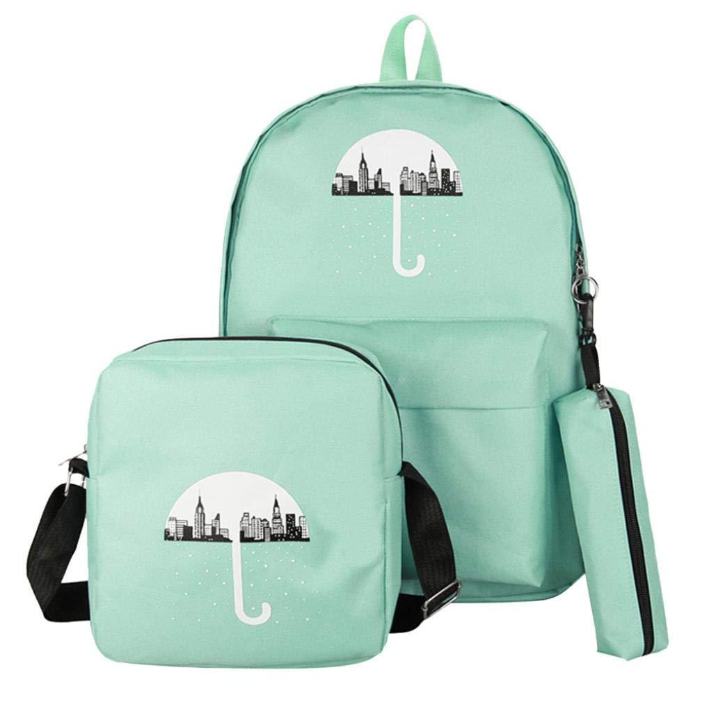 ManxiVoo 3Pcs Student Canvas Backpack +Crossbody Bag+Pen Bag Travel Packsack Knapsack Bags for Women Girls (Green)