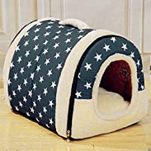ANPI 2 In 1 Pet House and Sofa, Machine Washable White Stars Pattern Non-slip Foldable Soft Warm Dog Cat Puppy Rabbit Pet Nest Cave Bed House with Removable Cushion Detachable Cashmere Mattress (Medium)