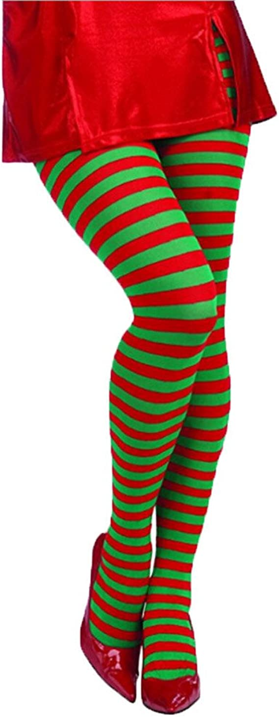 NATALE accessori donna Rosso e Verde a Righe Collant Elfo Costume