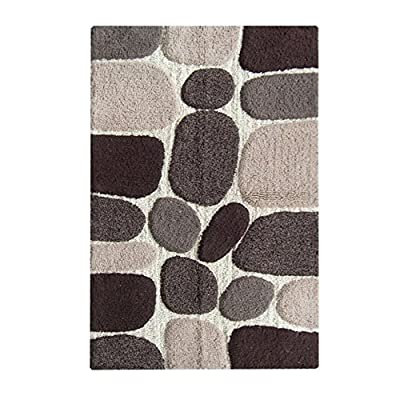 Chardin Home - 100% Pure Cotton Pebbles Bath Rug, Large, 27'' W x 45'' L, Gray-Beige – Easy Care Machine Wash -  - bathroom-linens, bathroom, bath-mats - 519gQ94Z TL. SS400  -