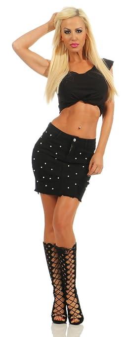 Fashion4Young 11475 Damen Jeans Rock Skirt Jeansrock Minirock Denim Perlen  Streetwear Slim-Fit Pencil-Skirt  Amazon.de  Bekleidung 7dea5876bb